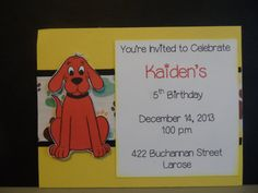 Clifford the Big Red Dog Birthday Invitation