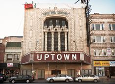 "Uptown Theatre (1925), front, 4816 North Broadway, Uptown, Chicago, Illinois, USA.  4,381 seat ""Spanish Mexican Renaissance"" movie theater designed for Balaban and Katz chain by brothers C.W. (1861-1927) and George L. (1878-1949) Rapp -- Rapp and Rapp, Chicago"
