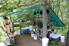 Setting up an outdoor off-grid kitchen