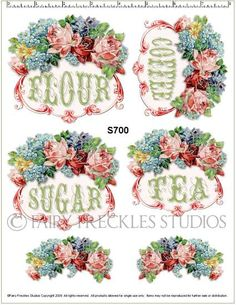 Item S700 Decal Victorian Vintage Style Kitchen Canister Label Roses Decals