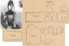 Der Bazar 1887: Blouse bodice from light blue voile and brownish-red velvet; 37. bodice's lining part, 38. side gore, 39. back part, 40. and 41. front and back plastron parts, 42. collar in half size, 43. sleeve, 44. cuff, 45.-48. corselet