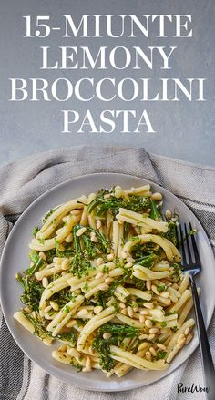 This 15-minute lemony broccolini pasta is gorgeous enough to serve at your next dinner party, but not too fancy for the kiddos. Get the recipe here. #pasta #pastarecipes #recipes #quickrecipes