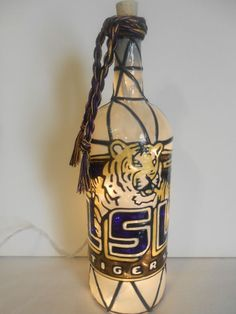 Hand Painted Lighted Wine Bottle LSU Inspired Stained Glass look