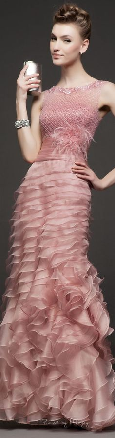 Rosa Clará ~ Spring Rose Gown  w Layered Ruffle Skirt 2015