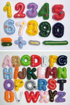 Felt letters and numbers Felt Diy, Handmade Felt, Felt Crafts, Fabric Crafts, Diy Crafts, Sewing Toys, Sewing Crafts, Sewing Projects, Craft Projects