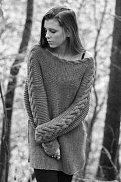 KNITTING PATTERN - River Braid Sweater - Side Knit Sweater With Cable - Loose Fit - One Size - Instant Digital Download - PDF Pattern