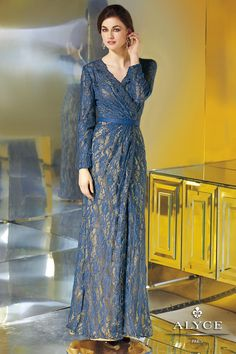 Elegant Long Sleeve Evening Gown in Lace and Satin 29621