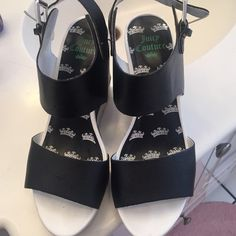 Juicy Couture sandals. Very stylish juicy Couture sandals in black and white size 6 1/2. Gently worn in excellent used condition Juicy Couture Shoes Platforms