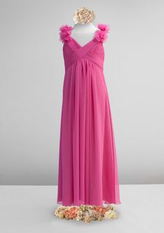 High quality 2015 Chiffon Fuchsia V-neck Ruched Flowers Sleeveless Floor Length…