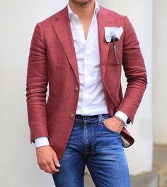 latest trends : mens fashion ideas мода, мужской стиль, с Blazer Outfits Men, Mens Fashion Blazer, Suit Fashion, Red Blazer, Men's Outfits, Boy Fashion, Womens Fashion, Trajes Business Casual, Business Casual Outfits