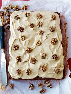 Mary Berry's classic Coffee and Walnut Traybake recipe Mary Berry's classic Coffee and Walnut Traybake recipe Tray Bake Recipes, Baking Recipes, Dessert Recipes, Coffee And Walnut Cake, Mary Berry Coffee Cake, British Baking, Tray Bakes, Yummy Cakes, No Bake Cake