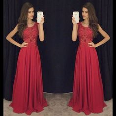 Red lace prom dresses,A-line chiffon long prom dress, 2016 evening formal gowns ,wedding dresses