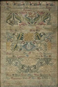 Embroidered sampler, 1721  by Anne Chase Silk on wool