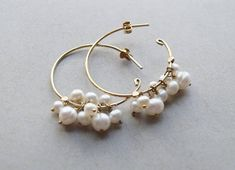 Hey, I found this really awesome Etsy listing at https://www.etsy.com/listing/537620819/pearl-and-gold-hoop-earrings-24k-gold