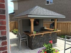 Gerrick Carpentry adds Value and Beauty to your Home with Quality Materials, All products are made from Western Red Cedar or Pressure treated pine. Backyard Cabana, Backyard Pavilion, Backyard Bar, Pool Cabana, Pool House Designs, Backyard Pool Designs, Pool Bar, Pool House Shed, Small Pool Houses