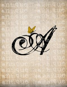 Antique Letter A Script Monogram with Butterfly Digital Download--for invites