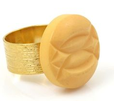 Vintage Carved Cream Bakelite Ring by TashaHussey on Etsy, $62.00