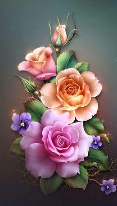 By Artist Unknown. Flowery Wallpaper, Flower Phone Wallpaper, Butterfly Wallpaper, Rose Wallpaper, Butterfly Art, Colorful Wallpaper, Wallpaper Backgrounds, Beautiful Flowers Wallpapers, Beautiful Rose Flowers