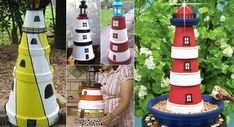 Lighthouses made with terra cotta plants