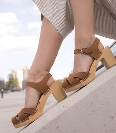 Brown leather clogs with straps, boho wooden clogs, high heel Swedish clogs for woman, nude summer shoes, boho leather sandals Brown Leather Shoes, Leather Clogs, Leather Sandals, Toddler Girl Shoes, Girls Shoes, Wooden Clogs, Wooden Sandals, Swedish Clogs, Heels