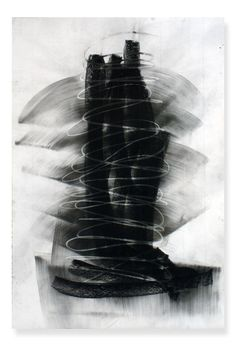 "Mark Wiener - untitled series, Aug 1, 8-10am, 44"" x 30"", graphite & charcoal, on paper, 2011"