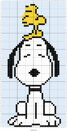 Cross Stitch Charts Free Snoopy and Woodstock Cross Stitch Chart or Hama Perler Bead Pattern - Cross Stitch Charts, Cross Stitch Designs, Cross Stitch Patterns, Cross Stitching, Cross Stitch Embroidery, Embroidery Patterns, Hand Embroidery, Motifs Perler, Perler Patterns