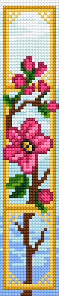 Book-mark in pink flower pattern 2 (flowers)