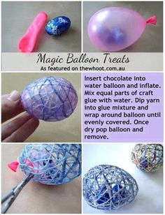 DIY Easter Magic Balloon Treats easter diy craft easter crafts easter diy easter craft easter eggs diy easter decor diy easter easter party decorations kids easter crafft by Zee Kids Crafts, Glue Crafts, Diy And Crafts, Easter Crafts For Adults, String Crafts, Magic Crafts, Fun Crafts To Do, Candy Crafts, Food Crafts