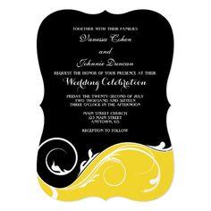 Yellow Black Swirl Bracket Wedding Invites