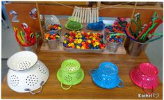 "Admission Pipe-cleaners, beads and colanders on the Finger Gym from Rachel ("",)Pipe-cleaners, beads and colanders on the Finger Gym from Rachel ("",) Motor Skills Activities, Gross Motor Skills, Sensory Activities, Preschool Activities, Finger Gym, Funky Fingers, Nursery Activities, Tuff Tray, Classroom Fun"