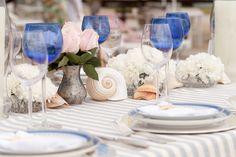 Casamento na Praia - Detalhes mesa Decoração Paula Fortuna (Foto: Anderson Marcello)