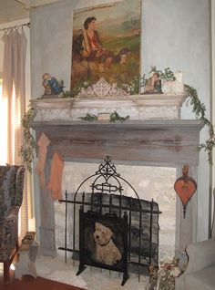 mantel colors and German smear stone        via Hill Country House blog