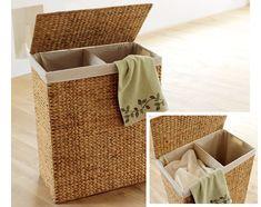 corbeille linge double en bois nordic achat vente. Black Bedroom Furniture Sets. Home Design Ideas