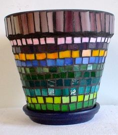 Mosaic Flower Pot - Diana Silvas, 14 - Lake View H.S. - Mosaic Collaborative - Spring Bridge 2013 - SOLD