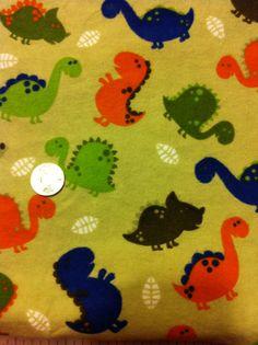 Dinosaur Flannel Cotton Fabric  Green Navy & by ALLSEWNUPANDMORE, $5.00