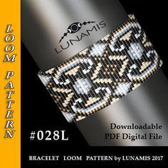 Loom bracelet pattern, loom pattern, square stitch pattern, pdf file, pdf pattern, cuff, #028L