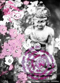 Yoga und Meditationskissen Lotus mit OM AUM in violett-schwarz Größe XL