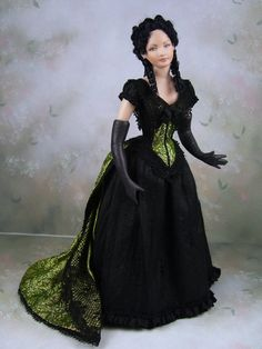 1:12th Scale Dollhouse Miniature Porcelain Victorian Young Woman Doll by Terri Davis                                                                                                                                                      More
