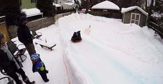 Coolest dad ever builds luge track for kids in the backyard