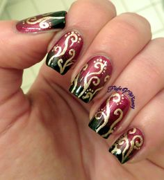 Swirling Vision! #nails #nailart #swirly #twotoned #flightofwhimsy - See more nail looks at Bellashoot.com