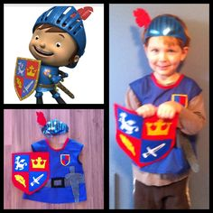 Mike the Knight costume! Helmet from a dollar store mask, shirt and shield have felt appliqués.