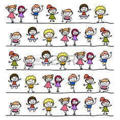 kid drawing line hand drawing cartoon abstract character happy people illustration - Cartoon Kid Drawings