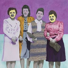 just a gaggle of paint-covered gals on a friday... weird & wonderful candy-hued mixed media by @daisy_patton on the site, link in profile
