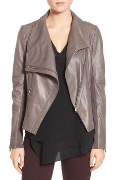 Main Image - Trouvé Drape Front Leather Jacket