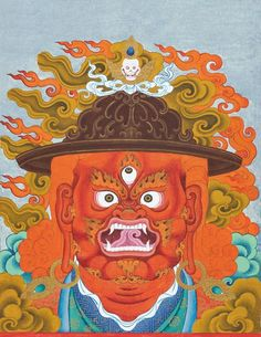 When Chögyam Trungpa Rinpoche was studying at Oxford in the late 1960s as a Spalding Fellow, he also composed teachings and painted. One of the works to come out of that period was a series of three masks, colorful and detailed depictions of the faces of three protector deities: Vajrasadhu, Ekajati, and Four-armed Mahakala. The ferocity of the protectors inspires the practitioner to ward off the obstacles on the path and transform them into wisdom.