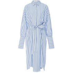 Tibi Pinstripe Shirt Dress (£445) ❤ liked on Polyvore featuring dresses, tibi, stripe, blue shirt dress, button down shirt dress, pinstripe dress, striped t-shirt dresses and stripe shirt dress