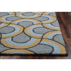 Arden Loft Hand-tufted Grey Geometric Easley Meadow Collection Wool Area Rug (9' x 12')