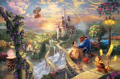 Thomas Kinkade Beauty and the Beast Falling in Love painting for sale, this painting is available as handmade reproduction. Shop for Thomas Kinkade Beauty and the Beast Falling in Love painting and frame at a discount of off. Thomas Kinkade Disney, Thomas Kinkade Art, Magical Paintings, Disney Paintings, Disney Artwork, Oil Paintings, Ocean Paintings, Paintings Famous, Disney Drawings