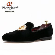 Piergitar new Lions Buckle Men black and navy Velvet Shoes Prom and Banquet Loafers Smoking Slippers Men'Flats Size US Prom Shoes, Dress Shoes, Indian Groom Dress, Smoking Slippers, Velvet Shoes, Mens Slippers, Black And Navy, Loafers Men, Banquet
