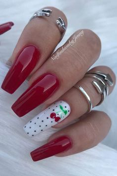 23 Best Red Acrylic Nail Designs of 2019 Red Acrylic Cherry Nails Glam Nails, Hot Nails, Pink Nails, Red Chrome Nails, Pastel Nails, Red Nail Designs, Acrylic Nail Designs, Art Designs, Essie Gel Couture